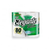 Papel Higiénico Elegante Simple Hoja Blanco 80mts x 4u